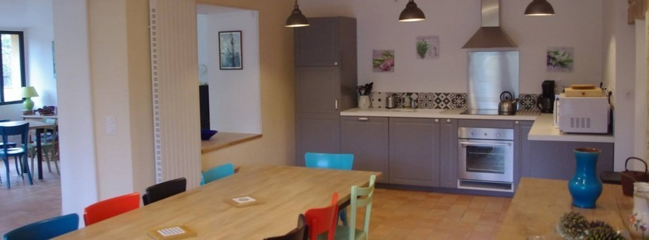 La cuisine et salle à manger du gite
