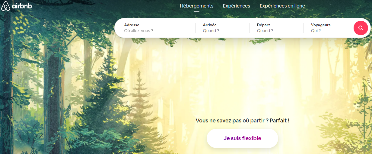 airbnb page accueil