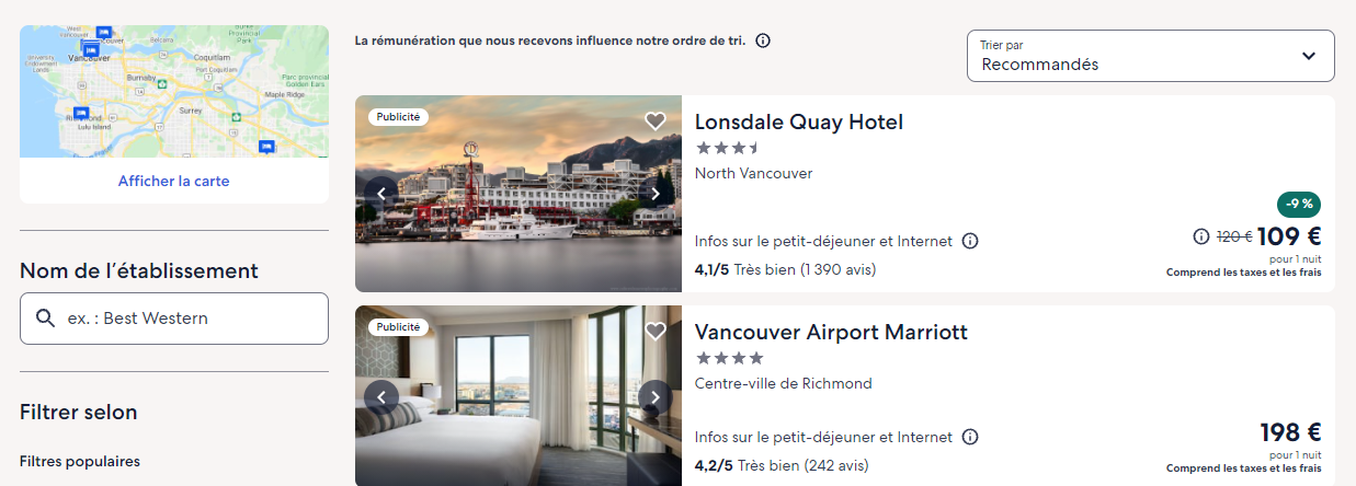 Page recherche hôtel expedia.fr