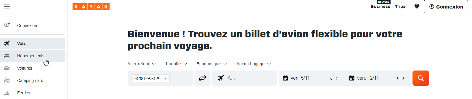 page accueil site kayak