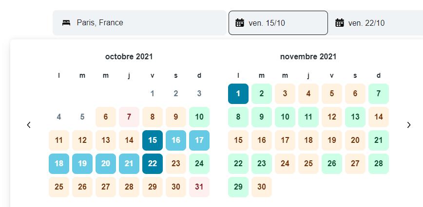 réservation dates kayak