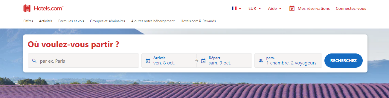 page accueil hotels.com