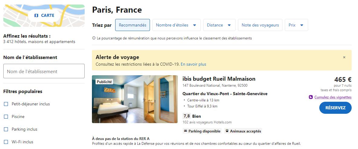 page hébergement hotels.com