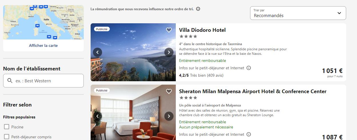 recherche hôtels ebookers