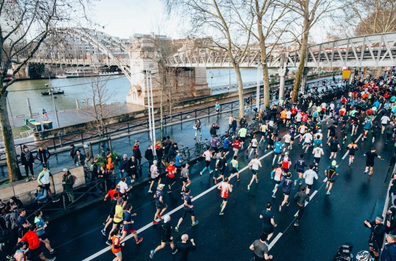 Coureurs au marathon de Paris 2021